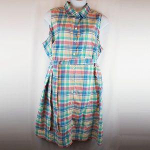 Lands End Dress Plaid Sleeveless Button Shirtdress